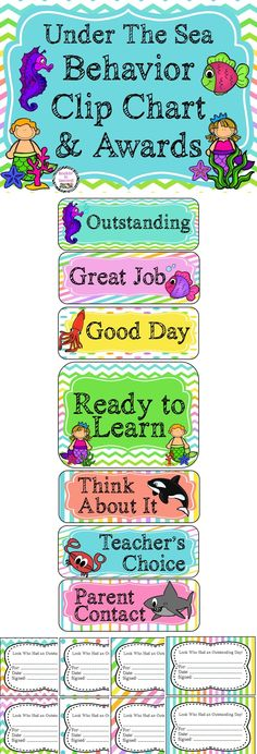 You are going to have fun with this adorable Under the Sea theme clip chart set. This behavior system promotes positive behavior in the classroom.  During the course of the day, the clips move up and down the chart based upon the behavioral choices each student makes. Good behavior causes the clip to move up one level while inappropriate behavior will cause the clip to move down one level.  This pack includes:  * Pastel Themed Clip Chart Behavior System & Awards