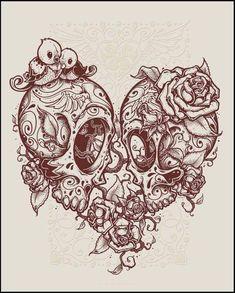 Skull Art Tattoo Drawing Beautiful Ideas For 2019 Kunst Tattoos, Bild Tattoos, Tattoo Drawings, Art Drawings, Tattoo Art, Couple Tattoos, Love Tattoos, Body Art Tattoos, New Tattoos