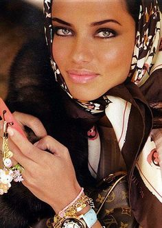adriana lima   louis vuitton hijab/head scarf