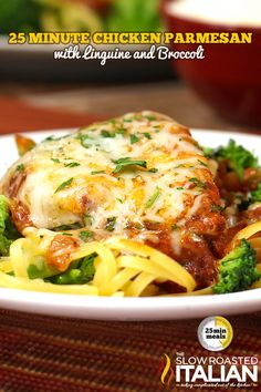 Chicken Parmesan with Linguine and Broccoli is simmered in a scrumptious tomato sauce and topped with oodles of cheese, served over a bed of linguine and broccoli… With a little more cheese… WOW! A simple recipe ready in just 25 minutes, it can be on your Pot Pasta, Pasta Dishes, Food Dishes, Main Dishes, Italian Dishes, Italian Recipes, Italian Foods, Chicken Parmesan Recipes, Recipe Chicken