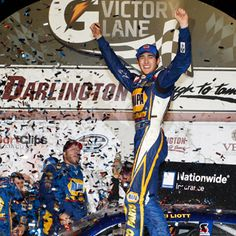 Chase Elliott became Darlington Raceway's youngest race winner in the NASCAR Nationwide Series after taking the checkered flag in tonight's VFW Sport Clips Help A Hero Darlington Raceway, Sports Clips, Chase Elliott, Nascar, Captain America, Champion, Dads, Racing, Victoria