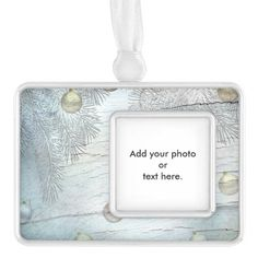 Blue Christmas Ornament Silver Plated Framed Ornament