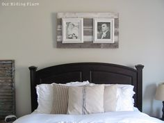 Pallet picture frame- add second layer and clips with cover instead of white frame.