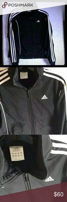 Original Adidas Jacket Perfect Condition Small Celebrity favorite, signature Adidas jacket. In brand new Flawless condition no fading or piling. side pockets.   3 white strips down each arm  Zip up and adjustable collar Size Small, fits a little big not much. Its super nice on!! Adidas Jackets & Coats