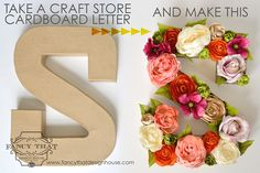 Floral letter / monogram tutorial .... AGHHH I want to do this for home... possibilities are endless. It would also be cool in a kids room with spray painted toys glued all over it.