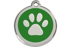 Red Dingo Stainless Steel & Enamel Paw Prints Dog ID Tag | PupLife Designer Dog Supplies