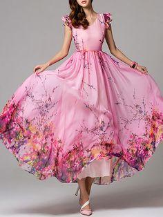Shop Maxi Dresses - Pink Floral Frill Sleeve V Neck Maxi Dress online. Discover…