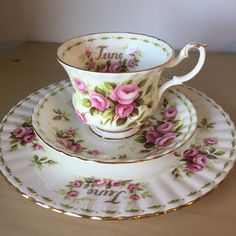 """Royal Albert """"Roses"""" June Flower of the Month Series Vintage Teacup Saucer Plate Floral English China Tea Cup Trio, Birthday Gift by CupandOwl on Etsy"""