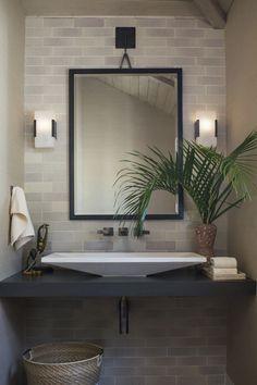 Sandy Brick Bathroom Backsplash by Chelsea Sachs… | Fireclay Tile Brick Bathroom, Bathroom Floor Tiles, Fireclay Tile, Thin Brick, Tile Design, Interior Design, Pitaya, Backsplash Tile, Consideration