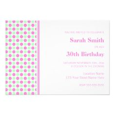 Shop Pink Mint Dots Birthday Party Invitation created by DreamingMindCards. 30th Birthday Ideas For Women, 30th Birthday Parties, Colored Envelopes, White Envelopes, Birthday Woman, You Are Invited, Envelope Liners, Custom Invitations, Paper Texture