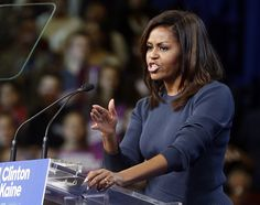 First Lady Michelle Obama starred in a defining moment of the presidential race Thursday, delivering a stinging and emotional condemnation of Donald Trump 's behavior toward women that framed the election as no longer about ideology, but human decency.