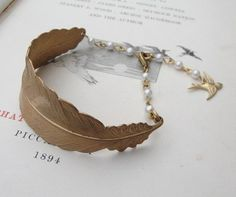 Feather bracelet with vintage pearls by Zara Taylor - True Birds Jewellery