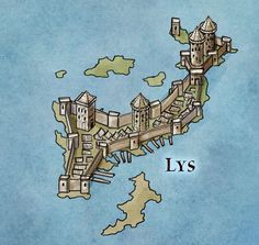 Lys for Game of Thrones - Fantastic Maps Game Of Thrones Castles, Game Of Thrones Map, Fantasy Map, Fantasy World, Fantasy Places, Fantasy Story, Game Of Thrones Illustrations, Westeros Map, Got Map