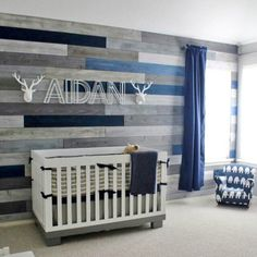 We absolutely LOVE to hear that Project Nursery has inspired someone's nursery design! Look familiar? This nursery features a gray rustic wall with a modern crib and decor. It was inspired by a nursery we featured from our contributor @Caden_Lane_Baby a few months back!