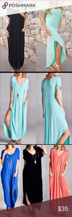 ✨Host Pick✨Mint Boho Maxi Dress Very cute and comfy max it dress with pockets! Runs big. Size small but can fit up to a large. Side slits for a cute summery look! Very soft and light weight material. Color is MINT I don't have any other colors but you can check out @bellanblue's closet! (Photos from her) 🚫No trades or Paypal🚫 Dresses Maxi
