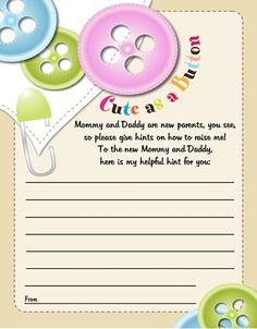 Cute As a Button - Baby Shower Notes of Advice