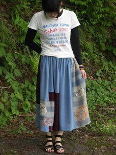 着物リメイク 絽と正絹 ロングギャザースカート 6