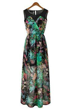 Multi Color Floral Print Maxi Dress