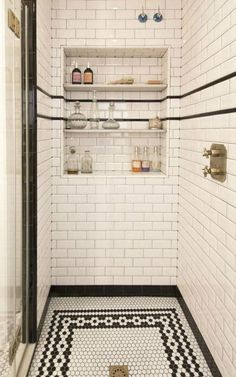 black white vintage shower tile