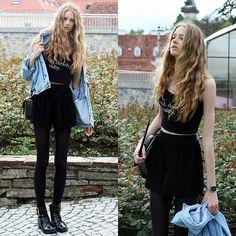 Anna Francesca - Nyct Clothing Black Printed Crop Top, Asos Black Shorts, Picard Black Leather Bag, Casio Silver Watch, Vintage Denim Jacket, Asos Leather Boots - 'til death baby