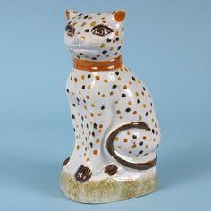 Antique Pratt ware model of a Cat.