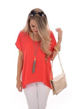 Basic Chiffon Top, Red :: NEW ARRIVALS :: The Blue Door Boutique