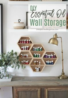 Need an organization system for your oils?? Check out this DIY essential oil wall storage system. It's not only functional but it's also pretty! #EssentialOil #storage #EssentialOilStorage