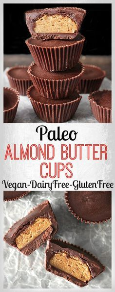 Paleo Almond Butter Cups- easy, 5 ingredients, and so delicious! Vegan, gluten free, and dairy free! Sans Gluten Vegan, Dessert Sans Gluten, Paleo Dessert, Dairy Free Recipes, Whole Food Recipes, Gluten Free, Diet Recipes, Vegan Recipes, Patisserie Vegan