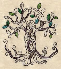 Embroidery Designs at Urban Threads - Tree Goddess Nature Tattoos, Life Tattoos, Tatoos, Tatoo Tree, Embroidery Patterns, Machine Embroidery, Muster Tattoos, Goddess Tattoo, Urban Threads