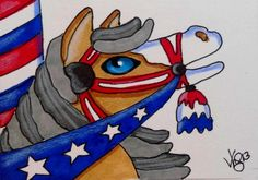 ACEO CAROUSEL JULY 4TH HORSE ON EBAY