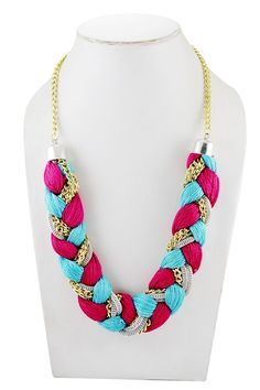 Adbeni Multicoloured Satin Threads  Braided Choker Handcraft Necklace-ADB-013…