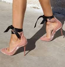 Image result for pink leather heels, all tied up with blue leather bows