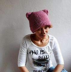 Knit Cat Ear Hat Cat Ear Beanie Cat Beanie Pink Hat by bysweetmom, $25.00