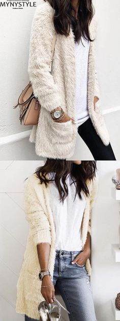 Shop Online for MYNYSTYLE White Open Front Pocket Detail Long Sleeve Women Fluffy Cardigan at $28.99 and discover more Cheap and Fine Autumn&Winter Sweaters and Cardigans at mynystyle.com
