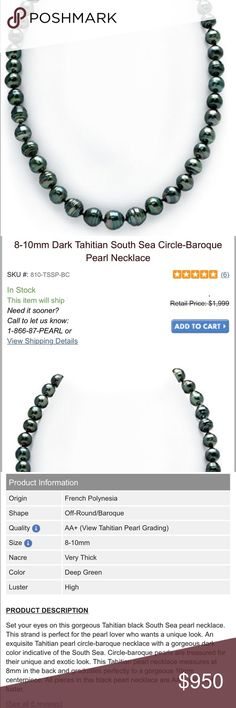 """New! Tahitian Black Pearl Baroque Pearl Necklace New! Genuine Tahitian Black Pearl Baroque Pearl Necklace • Stunning black pearls from French Polynesia / South Sea. Prized from their unique color, beauty and rarity. • Shape: off-round • Quality: AA+ • Size: 8-10 mm • Color: deep green • Luster: high • Length: 18"""" • Single strand. These were given to me as a gift and have only been worn 2x. They are beautiful but I don't have the occasion to wear them & they have no sentimental value, so…"""