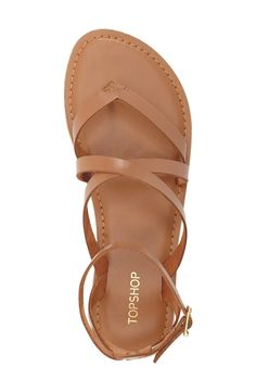 Topshop 'Hercules' Strappy Leather Thong Sandal (Women)