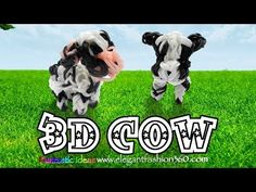 Rainbow Loom 3D Cow Charm - How to - Animal Series