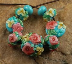 Lampwork Glass Beads Peachy Blue Flower Garden by carolynsbeads