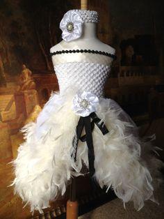 party lady white/ivory handmade feather tutu dress matching ribbon hair-bow headband custom order newborn to 4T. $59.95, via Etsy.