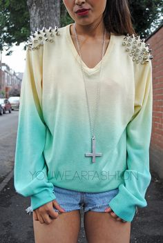 studded ombre sweater