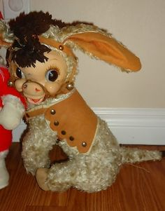 Rushton Company Stuffed Animals | Adorable stuffed vintage RUSHTON TOY CO Donkey rubber face toy doll