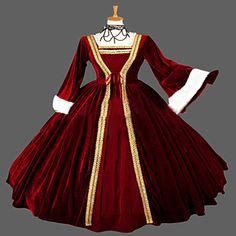 Uma-Peça/Vestidos Gótica Steampunk® / Vitoriano Cosplay Vestidos Lolita Vermelho Vintage Manga Comprida Comprimento Longo Vestido Para de 4328307 2016 por R$419,09