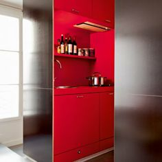 La cuisine mise en boîte - entire kitchen fitted into what essentially looks like two 1.5 m cupboards....