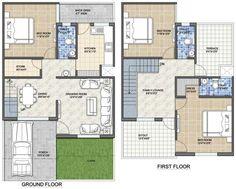 Tokeo la picha la 2 BHK floor plans of 2bhk House Plan, Model House Plan, Simple House Plans, House Layout Plans, Bungalow House Plans, House Layouts, Flat Roof House Designs, House Roof Design, Small House Design