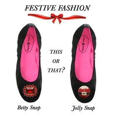 #ThisOrThat: The Betty Snap features a rectangular red crystal with bordering circular rhinestones or the Jolly Snap with an enamel #Santa and rhinestone belt (both by Lindsay Phillips SwitchFlops). Which would you pick; Betty or Jolly?