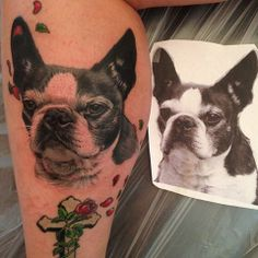 Puppy/ Dog portrait tattoo done by Christy Brooker at Damask Tattoo in Seattle, WA