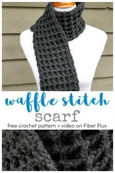 Great Snap Shots quick Crochet scarf Ideas Waffle Stitch Crochet Scarf, Free Crochet Pattern + Video on Fiber Flux Boho Crochet, Quick Crochet, Crochet Scarves, Crochet Shawl, Crochet Stitches, Crochet Patterns, Beginner Crochet Scarf, Free Crochet Scarf Patterns, Diy Crochet Scarf