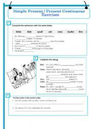 English worksheet: Simple Present and Present Continuous