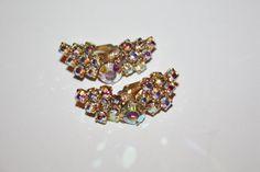 Vintage AB Rhinestone Earrings 1950s Jewelry by patwatty on Etsy, $5.00