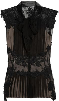 ALBERTA FERETTI Lace Paneled Silk Chiffon Top
